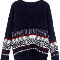 Navy Vintage Folk Print Long Sleeve Knitted Sweater