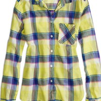 AEO 's Factory Plaid Button Shirt