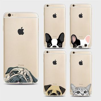 For iPhone 7 Cases Funny Cat Dog  Pattern Soft Ultra-thin Transparent TPU Silicone  Cover