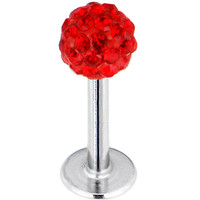 16 Gauge Red Ferido Ball Labret Monroe Tragus MADE WITH SWAROVSKI ELEMENTS | Body Candy Body Jewelry