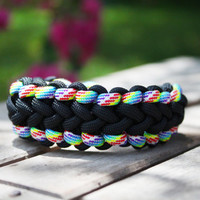 Paracord Bling- Survival Bracelet- Custom Made- Arm Cuff- Button Knot- Black & Rainbow- Womens and Mens