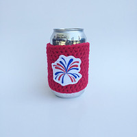 Fireworks Can Cozy, Coffee Cozy, Coffee Sleeve, TOGO cup, Can Cozy, Bottle Cozy, Handmade Gifts, Starbucks Coffee Cozy