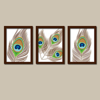 Peacock Feather Earth Tones Flower Artwork Set of 3 Trio Prints WALL ART Decor Abstract Picture Bedroom Bathroom