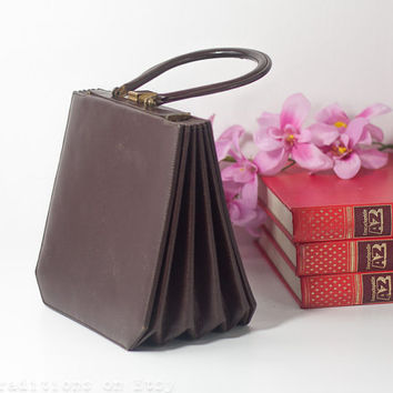 60s Clutch Purse / Bag: Vintage Faux Leather Handbag with a Coin Wallet