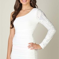One Shoulder with All Over Stone Sleeve and Ruched Bodice