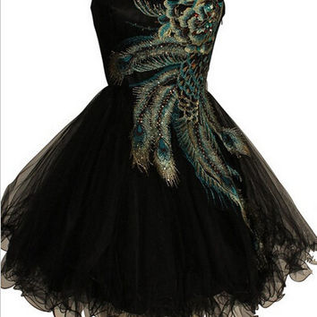Peacock Embroidery Black Short Homecoming Dress