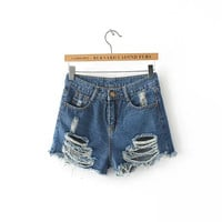 Women's Fashion Summer Ripped Holes Slim Stylish Denim Shorts [6034178945]
