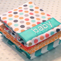 Personalized Burp Cloth Set - Set of 3 Personalized Baby Burp Cloths Gender Neutral Aqua Tangerine Orange Chevron Polka Dots Ikat