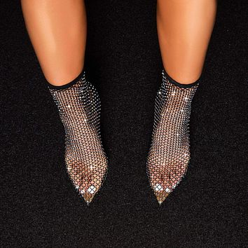 Sexy black stiletto point toe sexy hollow mesh fishnet socks boots ladies high heel ankle boots