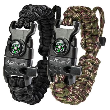 A2S Protection Paracord Bracelet K2-Peak – Survival Gear Kit with Embedded Compass, Fire Starter, Emergency Knife & Whistle EDC Hiking Gear- Camping Gear Black / Green Camo Adjustable Size