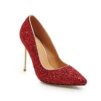 Sexy Pointed Toe Wedding Shoes Ultra-high Heel with Sequins