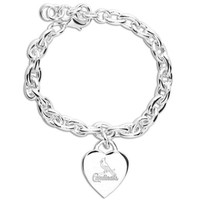 St. Louis Cardinals Ladies Silver Heart Charm Bracelet