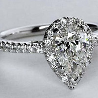2.37 E-SI1 Pear Shape Diamond Engagement Ring GIA certified JEWELFORME BLUE