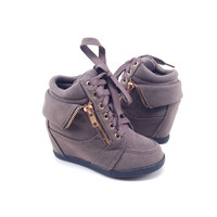 Taupe Suede Sneaker with Wedge for Girls