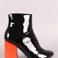 Seamed Contrast Chunky Heeled Patent Ankle Boots