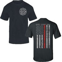 Thin Red Line Flag Firefighter Fire Department T-shirt Tee Fire Fighter USA Hero