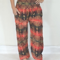 Thai Handmade Black Red Flowers stripes Yoga Pants/Harem/ Boho Pants/Print flowers design/elastic waist/Soft material/fit most/Long pants.