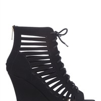 Peep Toe Platform Wedge Bootie with Lace Up Front and Cutouts