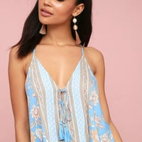 Chasing Hearts Light Tan and Light Blue Floral Print Tank Top