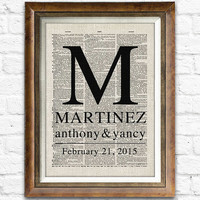 Dictionary Wedding Gifts, Engagement, Anniversary Gift, Wedding Party Decor, Personalized Home Wall Art Print, Choose Names & Date #cf08d