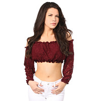 Plus Size Wine Lined Lace Long Sleeve Peasant Top