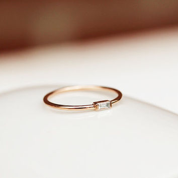 14k Solid Gold Thin Band With Baguette From Khimjewelry On Etsy