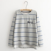Letter Embroidered Stripe Sweater