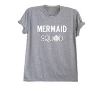 Mermaid squad shirt womens tee clothing mermaid tshirt top mermaid shell party shirts graphic tee size XS S M L