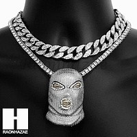 Hip Hop Silver Goon Mask Miami Cuban Choker Tennis Chain Necklace HS