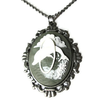 "Dolphin Cameo Necklace, 18"" Antique Silver Toned Chain"