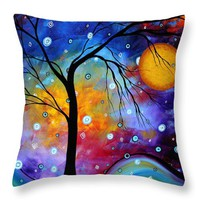 "WINTER SPARKLE Original MADART Painting Throw Pillow 14"" x 14"""