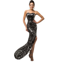 2015 Sparkling Sexy Sweetheart Off Shoulder Long Sequined Lace up Bandage Prom Dress Black Gold Formal Evening Gowns 007589 - BRIDESMAID DRESSES BRIDAL GOWNS PROM