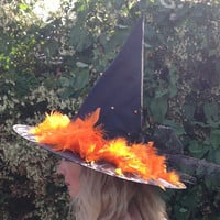 Glamorous Sparkly Witch Hat with Black Net Bow, AB Crystal Beads and Orange Feathers