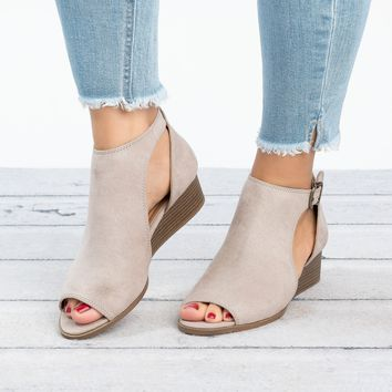 Open Toe Taupe Shootie