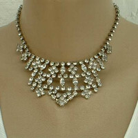 Tiara Style Choker Bib Necklace Rhinestones Holiday Bling Vintage Jewelry
