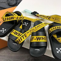 Off White C/o Virgil Abloh 19ss Arrow Woman Men Fashion Sandals Slipper Shoes