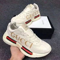 Gucci new red and green stripes old shoes for women couples all-match thick-soled sneakers increase shoes