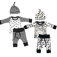 born Toddler Infant Baby Boy Girl Long Sleeve Tops Long Pants Hat 3PCS Casual Outfits Set Clothes