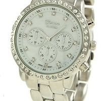 Geneva Faux Chronograph Mother of Pearl Watch-silver