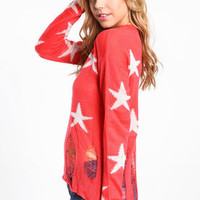 Shredded Starry Knit Sweater - LoveCulture
