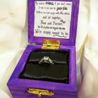 """Nightmare before Christmas """"We Were Simply Meant to Be"""" Disneys Tim Burtons Jack and Sally inspired Engagement Ring Box with Quote inside"""