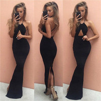 2016 Sexy Women Summer Long Maxi Backless Party Dress Sleeveless Fashion Black Dress Beach Dress Vestidos