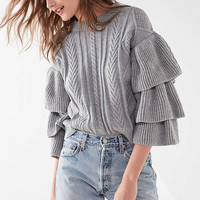 UO Cable Knit Ruffle-Sleeve Sweater | Urban Outfitters