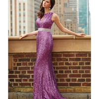 Fuchsia Sequin Open Back Gown