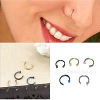2 pcs Hot Not Allergic Not Fade  Stainless Steel Nose Open Hoop Ring Earring Body Piercing Studs Jewelry