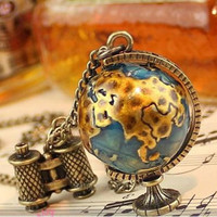 Vintage Globe Earth Telescope Tellurion Enamel Pendant Long Chain Necklace Gifts = 1946929668