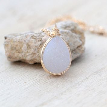 White Druzy Teardrop Necklace - Gold