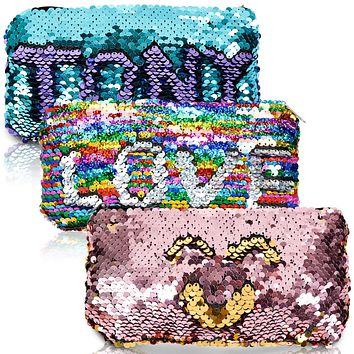 Mermaid Reversible Sequin Pencil Stationary Pouch Small Women Makeup Organizer Daily Items Bag Purse (Rainbow+Silver/Blue+Purple/Gold+Pink) for Kids Girls