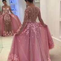 Prom Dresses Pink Long Sleeves Evening Dresses Appliques
