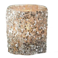 Glitter Sequin Glass Votive Candle Holder